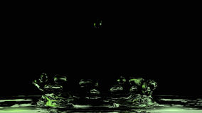 Green Water. Splashes up. 3d illustration on black background stock illustration