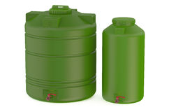 Green water tanks. Isolated on white background Royalty Free Stock Image