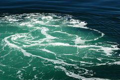 Green Water Wake. Green water with white foam from boat wake Stock Photo