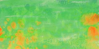Green watercolor background with orange stains royalty free illustration