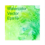 Green watercolor background, texture, template. vector illustration stock illustration