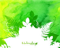 Green watercolor background with white leaves Stock Photos