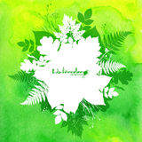 Green watercolor background with white leaves Royalty Free Stock Photography
