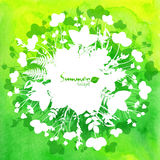 Green watercolor background with white leaves Royalty Free Stock Photo