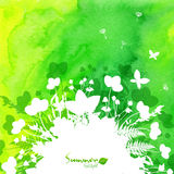 Green watercolor background with white leaves Royalty Free Stock Images