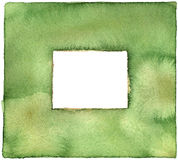 Green Watercolor Border. Textural green watercolor border with pigment watermarks Royalty Free Stock Photo