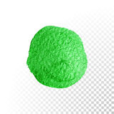 Green watercolor brush blob. Vector oil paint smear. Polish stain. Stock Image