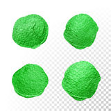 Green watercolor brush blob. Vector oil paint smear. Polish stains. Stock Photos