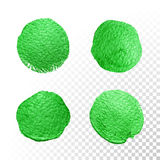 Green watercolor brush blob. Vector oil paint smear. Polish stains. Royalty Free Stock Photos