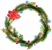 Green watercolor christmas wreath with decorations Royalty Free Stock Images