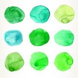 Green watercolor circles Royalty Free Stock Images
