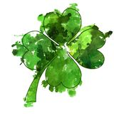 Green watercolor clover illustration. Stock Images