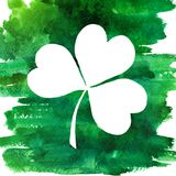 Green watercolor clover illustration. Stock Image