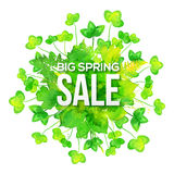 Green watercolor clovers spring sale banner Stock Photography