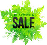 Green watercolor clovers summer sale banner Stock Image