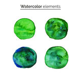 Green watercolor design elements. Set isolated watercolor paint circles, templates for your design. Royalty Free Stock Photos