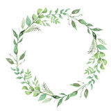 Green Watercolor Flower Hand Painted Leaf Garland Floral Wreath
