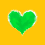 Green watercolor glowing heart Stock Photos