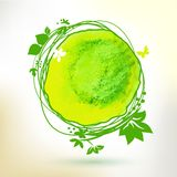 Green watercolor hand drawing sunny label Royalty Free Stock Photo