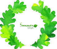 Green watercolor oak leaves vector wreath Stock Image