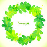 Green watercolor oak leaves vector wreath Royalty Free Stock Photo