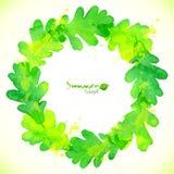 Green watercolor oak leaves vector wreath Royalty Free Stock Photo