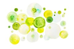 Green watercolor paint in shape of circles. On white background Royalty Free Stock Photography