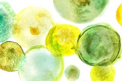 Green watercolor paint in shape of circles. On white background stock photos