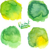 Green watercolor painted vector stains set Stock Images