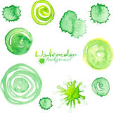 Green watercolor painted vector textured circles Royalty Free Stock Photo