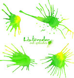Green watercolor splash vector blots Royalty Free Stock Image