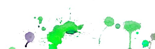Green watercolor splashes and blots on white background. Ink painting. Hand drawn illustration. Abstract watercolor artwork.  Royalty Free Stock Photo