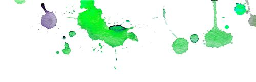 Green watercolor splashes and blots on white background. Ink painting. Hand drawn illustration. Abstract watercolor artwork. royalty free illustration