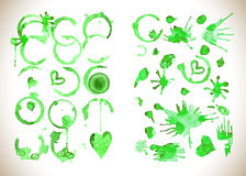Green watercolor splashes vector Royalty Free Stock Photography
