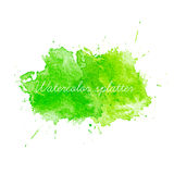 Green Watercolor splatters. Stock Photo