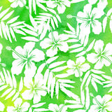 Green watercolor vector hibiscus seamless pattern Stock Photo