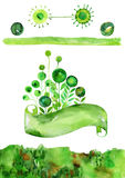 Green watercolor vector set, banner with floral theme, green watercolor vector elements Stock Photo
