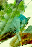 Green Watercolour Grunge Painting. Abstract grungy paint splashes and brushstrokes on rough textured paper.  Swampy hues. (Part of series Royalty Free Stock Photo