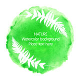 Green watercolour nature icon on white background. With fern silhouette. Vector illustration for floral design Stock Image