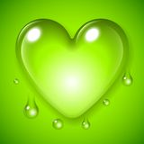 Green Waterdrop Heart Stock Photography