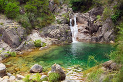 Green Waterfall. A small waterfall and green lagoon hidden in the mountains. Arado river, Peneda-Gerês National Park, Portugal Stock Images