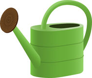 Green Watering Can. Vector watering can, green plastic Stock Photography