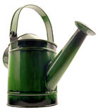 Green watering can. On a white background Stock Photos