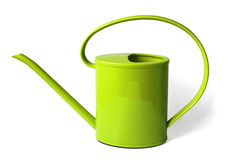 Green watering can. Isolated green watering can on white background Stock Images