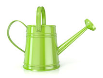 Green watering can 3D render. White background. Side view Stock Photography