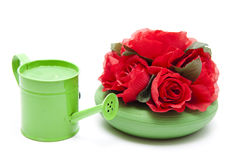 Green watering can with flowers Royalty Free Stock Photography