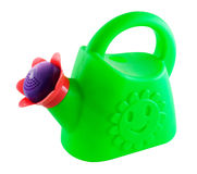 Green watering can. With isolated on a white background Stock Images