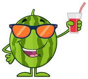 Green Watermelon Fresh Fruit Cartoon Mascot Character With Sunglasses Presenting And Holding Up A Glass Of Juice Royalty Free Stock Images
