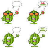 Green Watermelons Fruit Cartoon Mascot Character Series Set 5. Collection Royalty Free Stock Photos