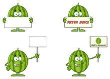 Green Watermelons Fruit Cartoon Mascot Character Series Set 3. Collection Royalty Free Stock Photo